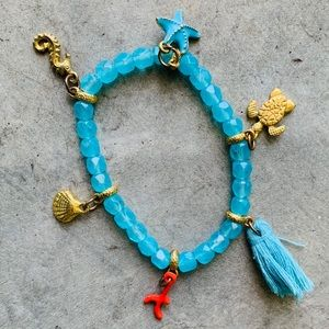 Jewelry - Aqua Blue Beaded Sea Life Charm Bracelet